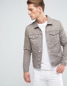 Коричневая выбеленная джинсовая куртка River Island - Коричневый