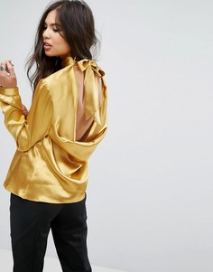 Блузка с высоким воротом и галстуком-бабочкой Outrageous Fortune - Золотой