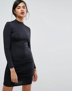 Облегающее платье мини с высоким воротом и длинными рукавами Ivyrevel - Черный