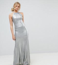 Платье макси с отделкой пайетками и бретельками на спине TFNC Tall - Серебряный
