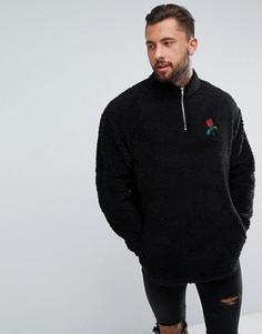 Oversize-свитшот с молнией и вышивкой ASOS - Черный