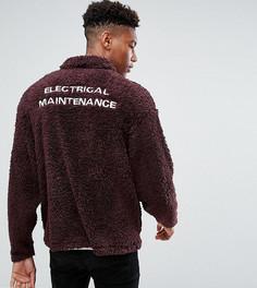 Оверсайз-куртка Харрингтон из искусственного меха с вышивкой ASOS TALL - Красный
