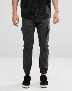 Строгие брюки карго с узором в елочку Jack & Jones Intelligence - Серый