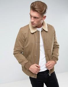 Светло-коричневая куртка с подкладкой из искусственного меха River Island - Светло-серый