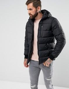 Черная дутая куртка с капюшоном River Island - Черный