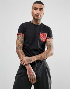 Черная футболка с карманом и цветочной отделкой Criminal Damage - Черный