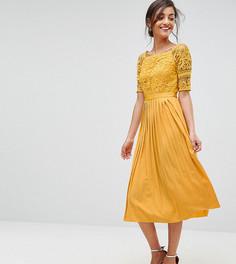 Приталенное платье миди с кружевным топом и плиссированной юбкой Little Mistress Tall - Желтый
