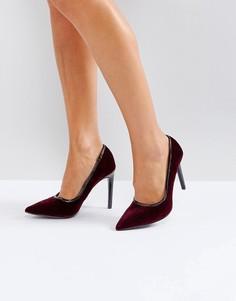 Туфли-лодочки из бархата с острым носком и отделкой из полиуретана Ivyrevel - Красный