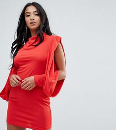 Облегающее платье с открытыми плечами и драпировкой ASOS PETITE - Красный