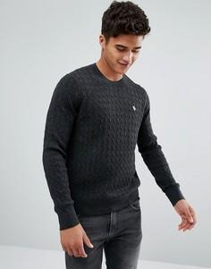 Темно-серый трикотажный джемпер с узором в косичку и логотипом Abercrombie & Fitch - Серый