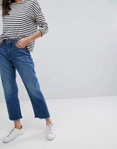 Прямые джинсы с завышенной талией и бахромой по краю Only - Синий