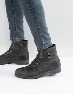Темно-серые кожаные ботинки в стиле милитари River Island - Серый