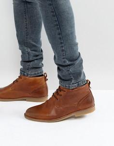 Коричневые кожаные ботинки с подкладкой из искусственного меха River Island - Рыжий