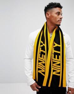 Желтый с черным футбольный шарф в стиле 90-х River Island - Желтый