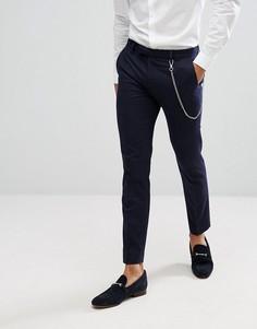 Темно-синие брюки в тонкую полоску с цепочкой River Island - Темно-синий