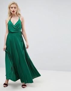 Платье макси с запахом и поясом ASOS - Зеленый
