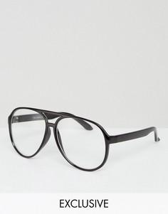Черные очки-авиаторы с прозрачными стеклами Reclaimed Vintage Inspired - Черный