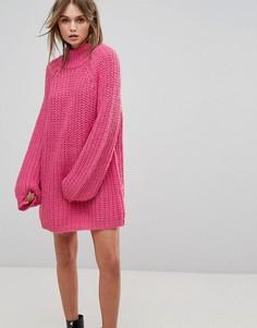 Свободное платье-джемпер с высоким воротником Vero Moda - Розовый
