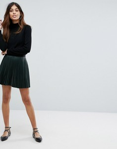Мини-юбка с плиссировкой и эффектом металлик Vero Moda - Зеленый