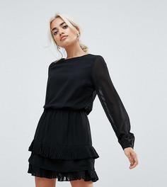 Платье мини с плиссированными вставками Vero Moda Petite - Черный