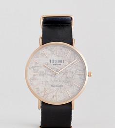 Часы с черным кожаным ремешком и принтом карты на циферблате Reclaimed Vintage Inspired эксклюзивно для ASOS - Черный