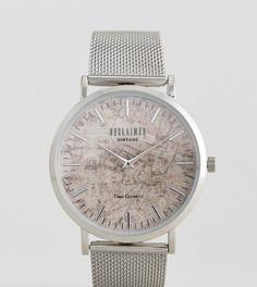 Часы с картой Парижа Reclaimed Vintage Inspired эксклюзивно для ASOS - Серебряный