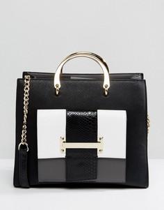Монохромная сумка-тоут с ручкой Faith - Черный