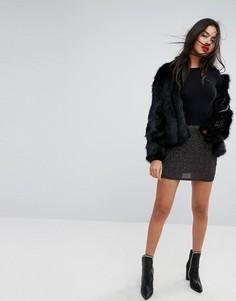 Мини-юбка с блестящей отделкой Missguided - Черный