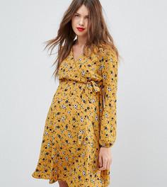 Платье для беременных с цветочным принтом и запахом New Look Maternity - Желтый