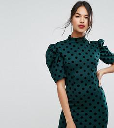 Платье мини в горошек с открытой спиной PrettyLittleThing - Зеленый