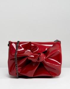 Лакированная сумка на плечо с ремешком-цепочкой New Look - Красный