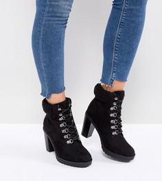 Походные ботинки для широкой стопы на каблуке New Look - Черный