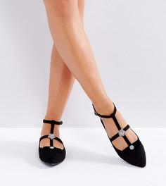 Туфли на плоской подошве с перекрестными ремешками и брошью New Look - Черный