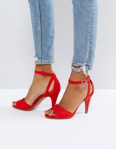 Босоножки с ремешками и конусообразным каблуком New Look - Красный