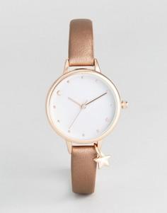 Часы с ремешком металлик и подвеской-звездочкой New Look - Розовый