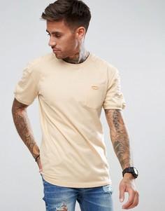 Бежевая длинная футболка в рубчик boohooMAN - Рыжий