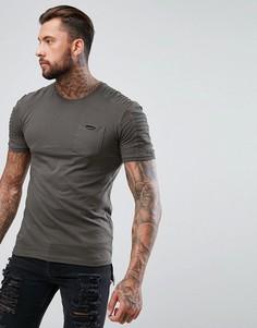 Длинная футболка со вставками в рубчик цвета хаки boohooMAN - Зеленый