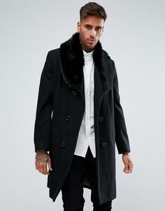 Черное двубортное пальто с добавлением шерсти и искусственным мехом boohooMAN - Черный