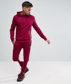 316fc68b922 Бордовый байкерский спортивный костюм скинни boohooMAN - Красный