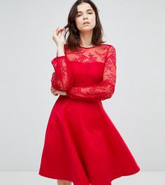 Платье с кружевным лифом и пышными рукавами Y.A.S Tall - Красный