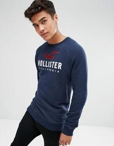 Темно-синий свитшот с круглым вырезом и большим логотипом Hollister - Темно-синий