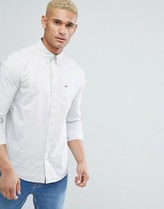 Серая узкая меланжевая рубашка с карманом и логотипом Hollister - Серый