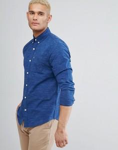 Темно-синяя узкая фактурная рубашка с карманом и логотипом Hollister - Темно-синий