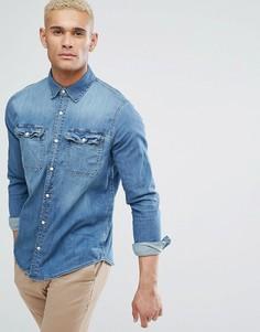 Выбеленная узкая джинсовая рубашка Hollister - Синий