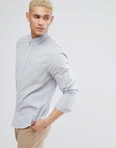 Серая узкая оксфордская рубашка на пуговицах с логотипом и карманом Hollister - Серый
