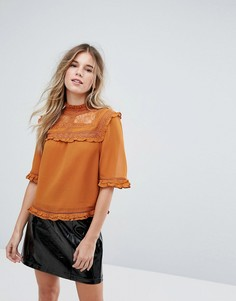 Блузка с кружевной кокеткой New Look - Оранжевый
