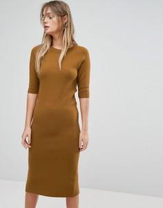 Трикотажное платье-джемпер Selected - Коричневый