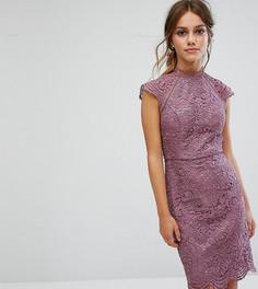 Кружевное платье-футляр миди Chi Chi London Petite - Фиолетовый