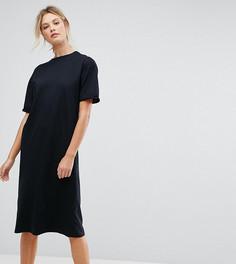 Платье-футболка миди с отворотами на рукавах ASOS TALL - Черный