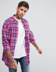 Розовая оверсайз-рубашка в клетку с заниженной линией плеч River Island - Розовый